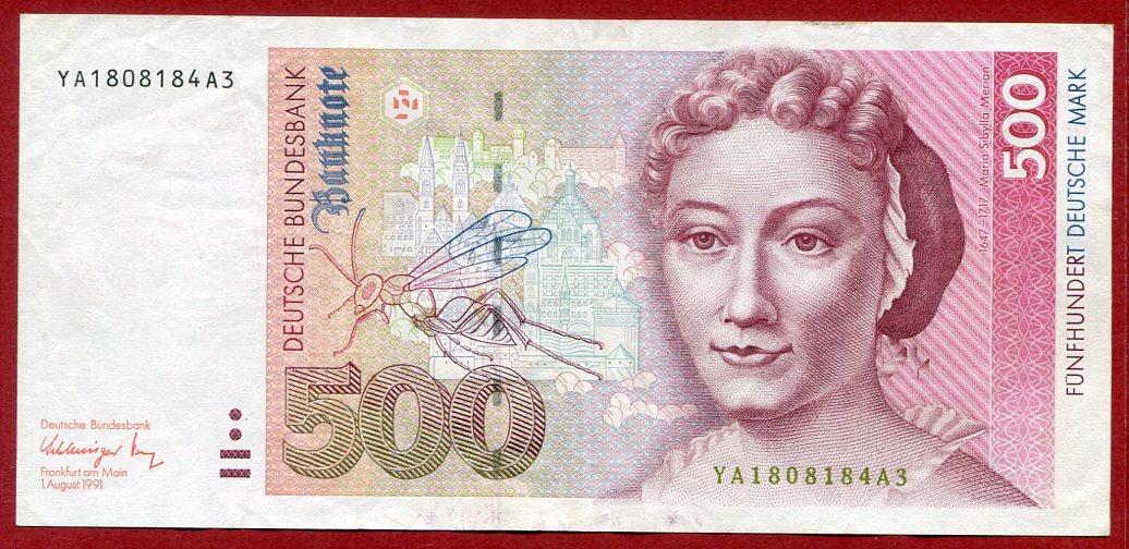500 Dm Deutsche Mark Brd 1991 Bundesrepublik Deutschland Frg