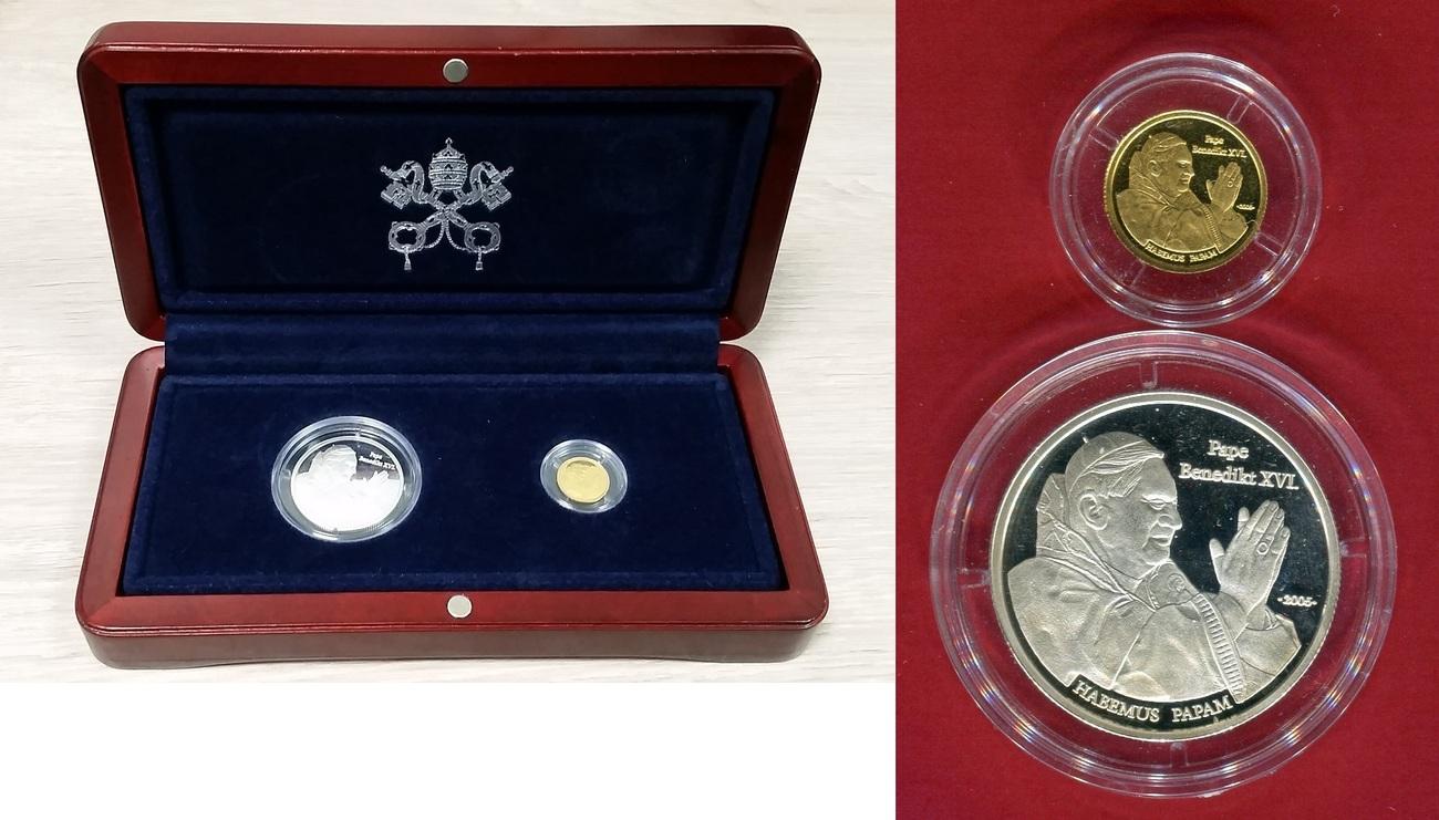 1500 Francs Goldmünze 500 Francs Silbermünze 2005 Togo Habemus