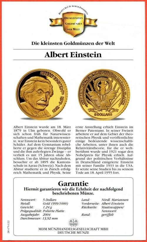5 Dollars Minigoldmuenze 2004 Nördliche Marianen Die Kleinsten