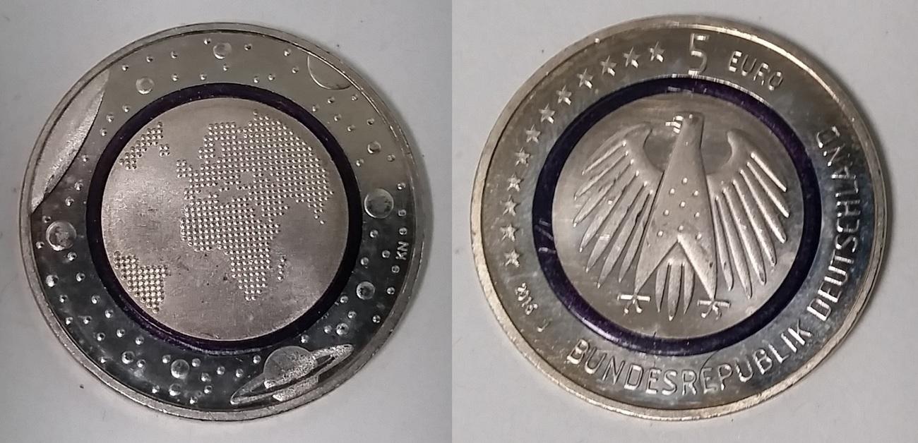 5 Euro Münze 2016 J Bundesrepublik Deutschland Blauer Planet Erde