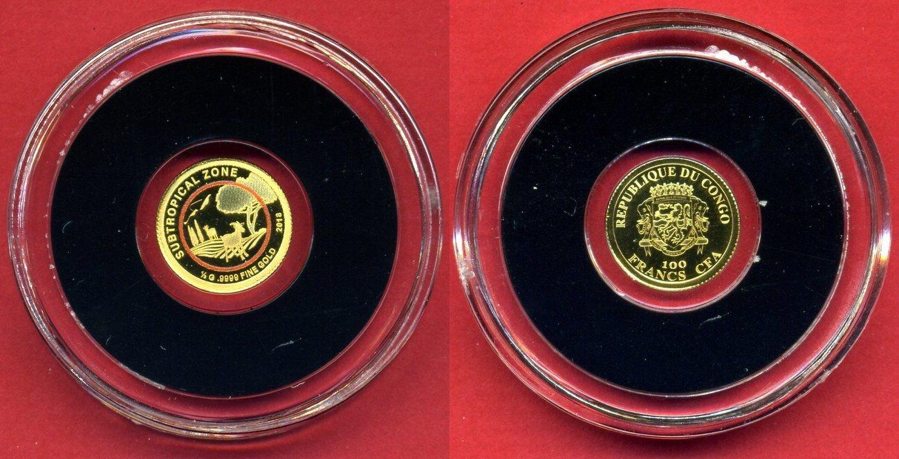 100 Francs Cfa Minigoldmünze Kolorierung 2018 Kongo Klimazonen Der