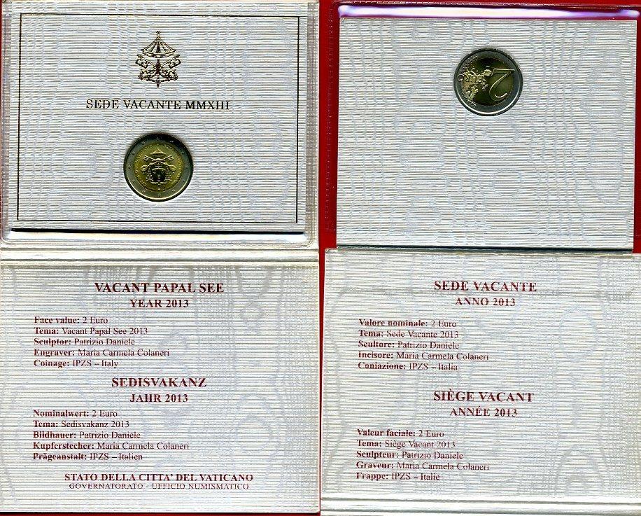 2 Euro 2013 Vatikan Sedisvakanz Mmxiii Bankfrisch In Ovp Ma Shops