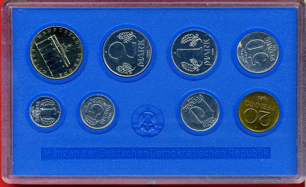 Kms 886 Inkl 5 Mark Münze 1980 Ddr Kursmünzensatz Mit 5 Mark Münze