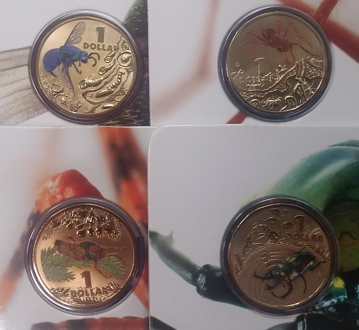 4 X 1 Dollar 2014 Australien Australische Insekten Münzen Mit