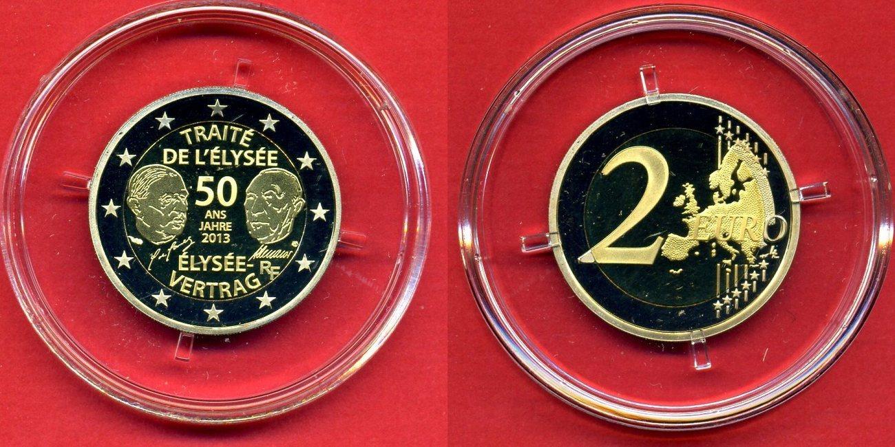 2 Euro Gedenkmünze 2013 Frankreich 50 Jahre Elysée Vertrag Pp In