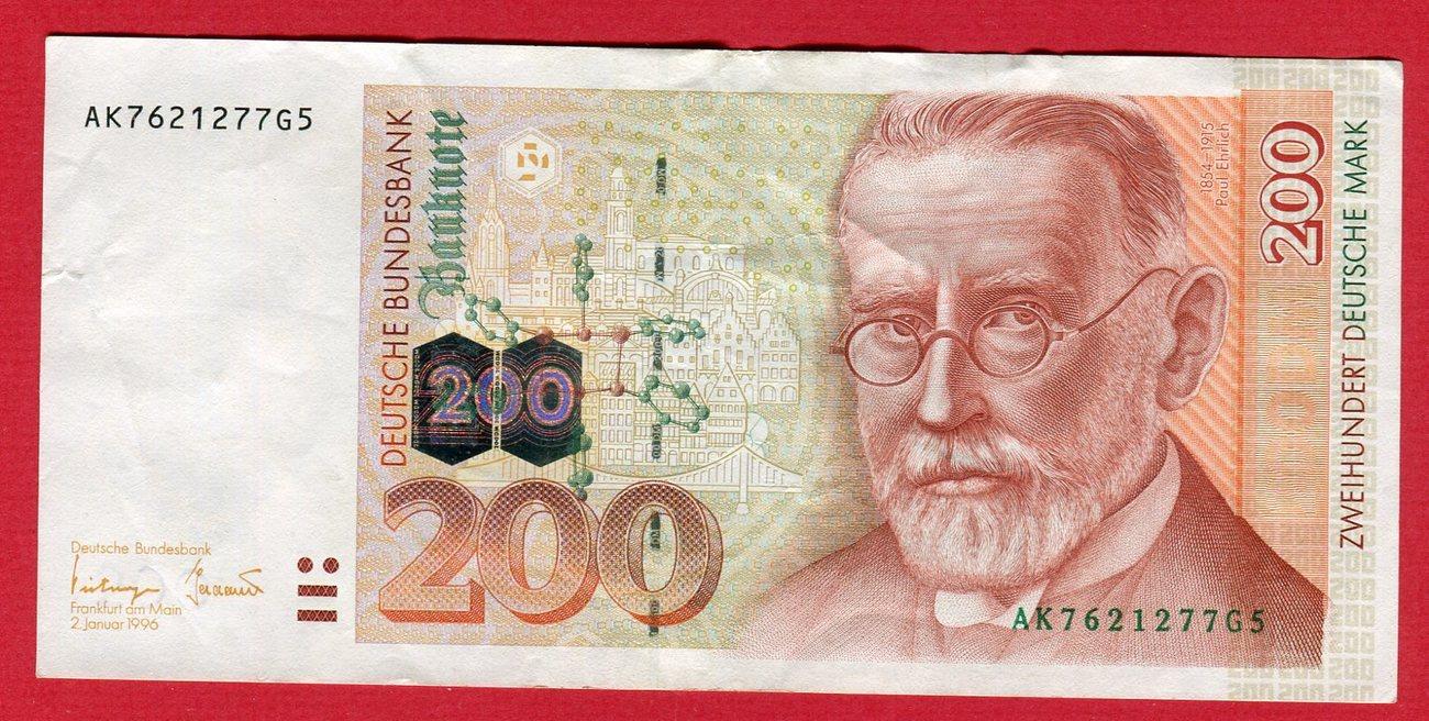 200 Dm Deutsche Mark 1996 Ak G Brd Deutsche Bundesbank Paul Ehrlich