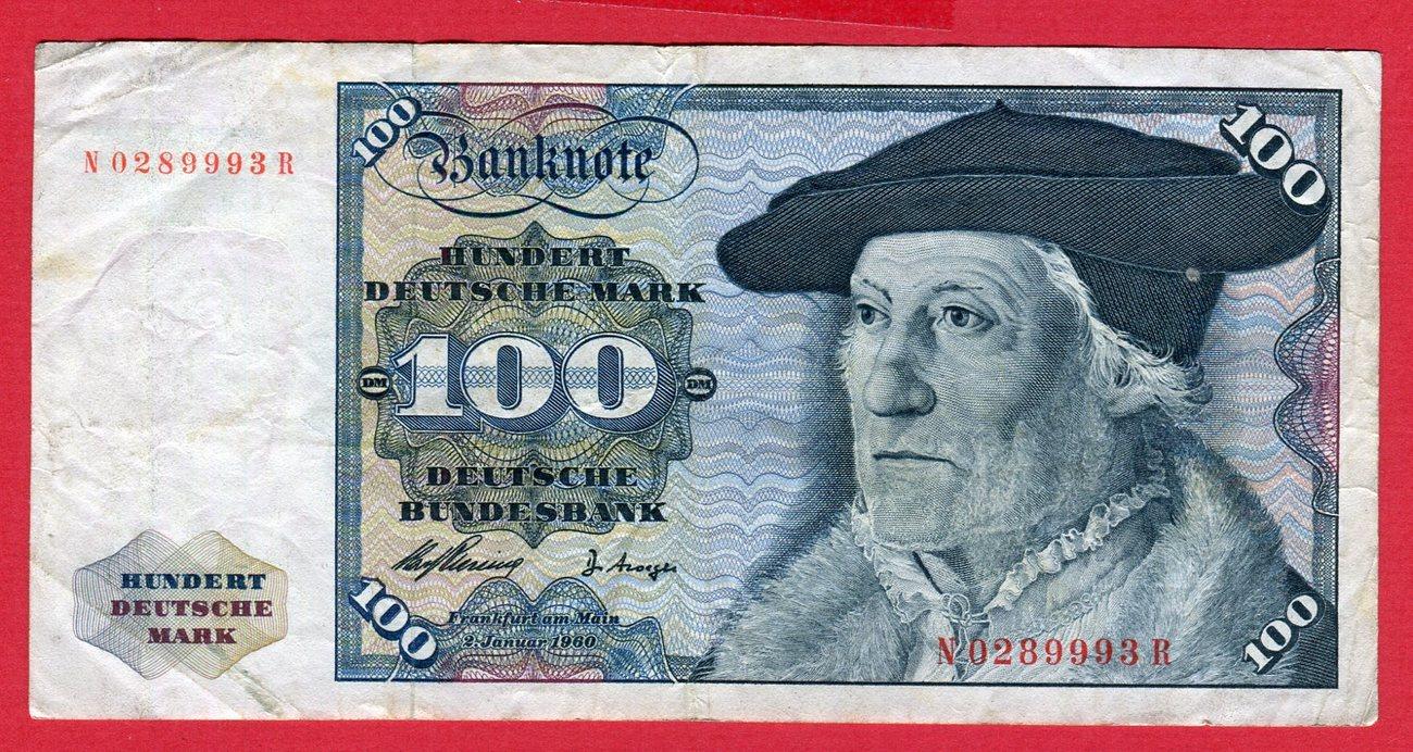 100 Dm Deutsche Mark 1960 Brd Deutsche Bundesbank Banknote N R
