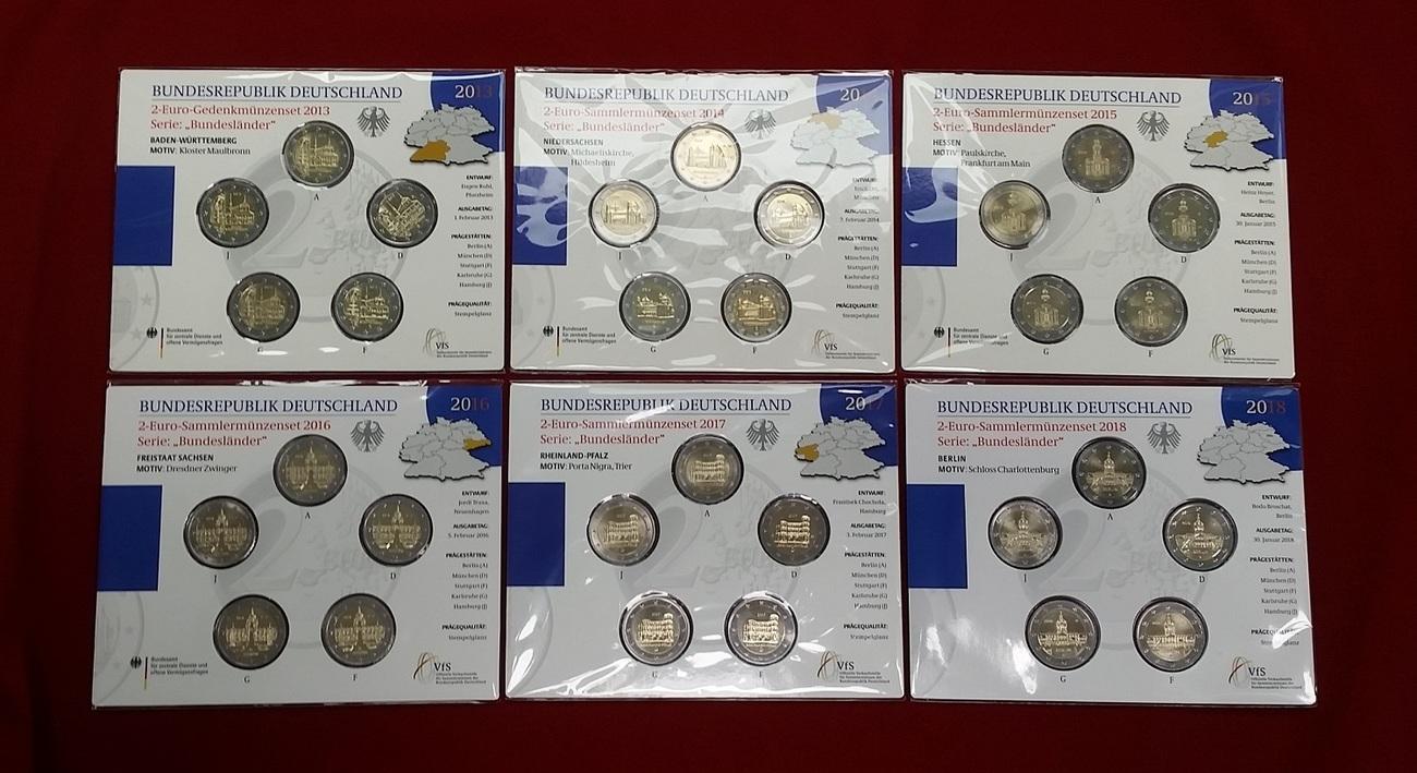 6 X 2 Euro Gedenkmünzen Sets 2013 2018 Bundesrepublik Deutschland
