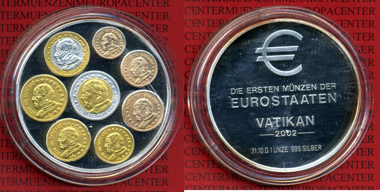 Silbermedaille Unze Mit Farbapplikation 2002 Vatikan Erste Münzen