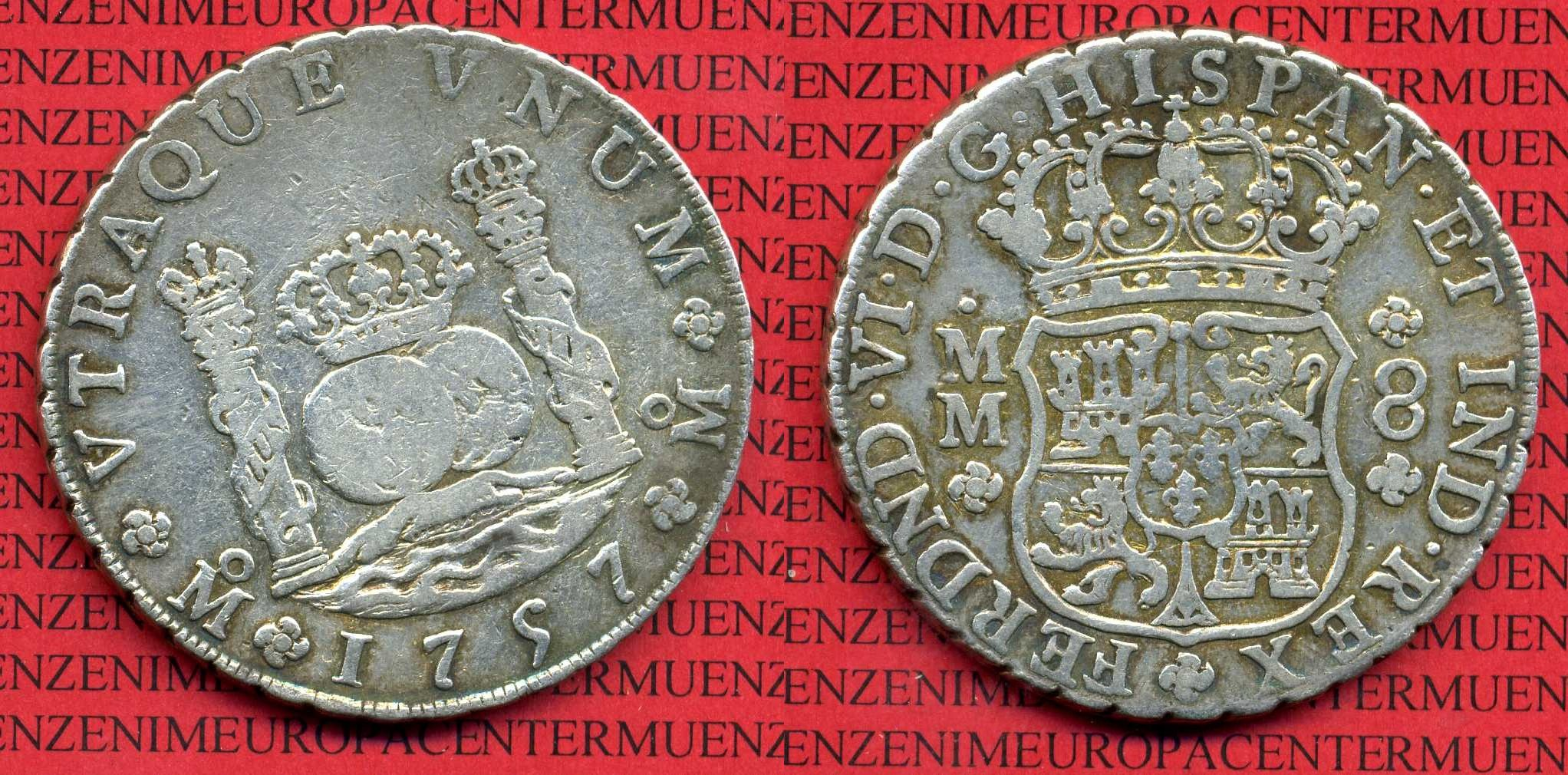 8 Reales Silbermünze Wappen M Säulen 1757 Mexico Mexiko Unter