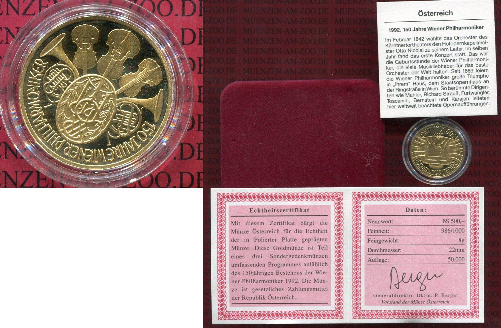500 Schilling Goldmünze 1992 österreich österreich 500 Schilling