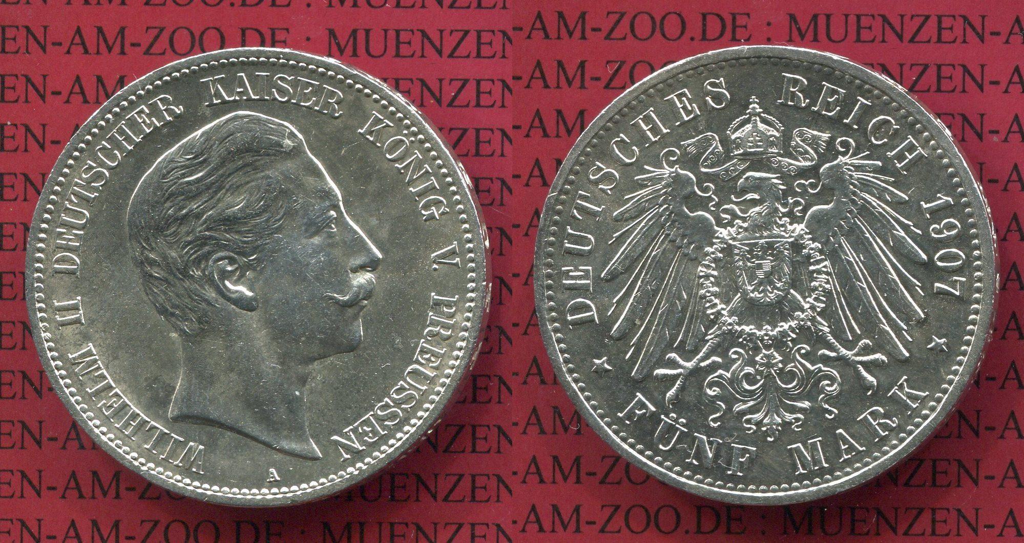 5 Mark Silbermünze 1907 Preußen Preußen 5 Mark 1907 A Kursmünze