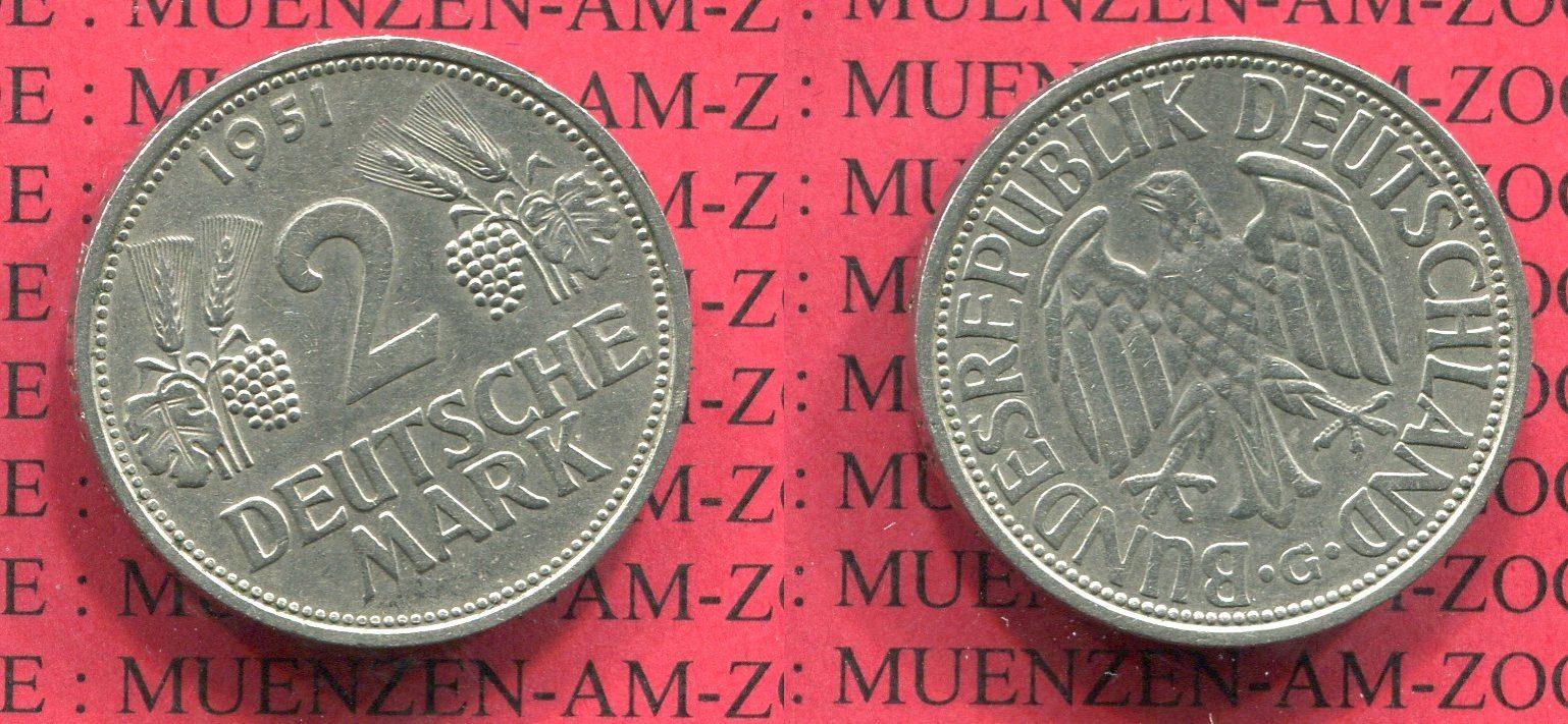 2 Dm Weintrauben ähren 1951 G Bundesrepublik Deutschland 2 Dm 1951 G