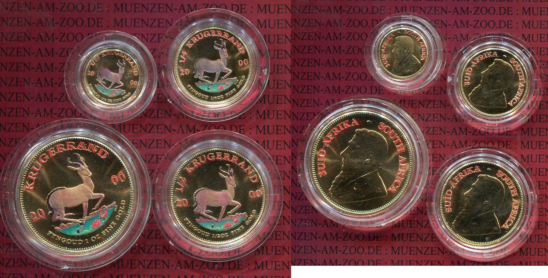 1/10, 1/4, 1/2 1 Unze Krügerrand Gold Süd Afrika 2000 Krügerand Set, 4 x Gold 1/10, 1/4, 1/2 1 Unze Farbmünzen