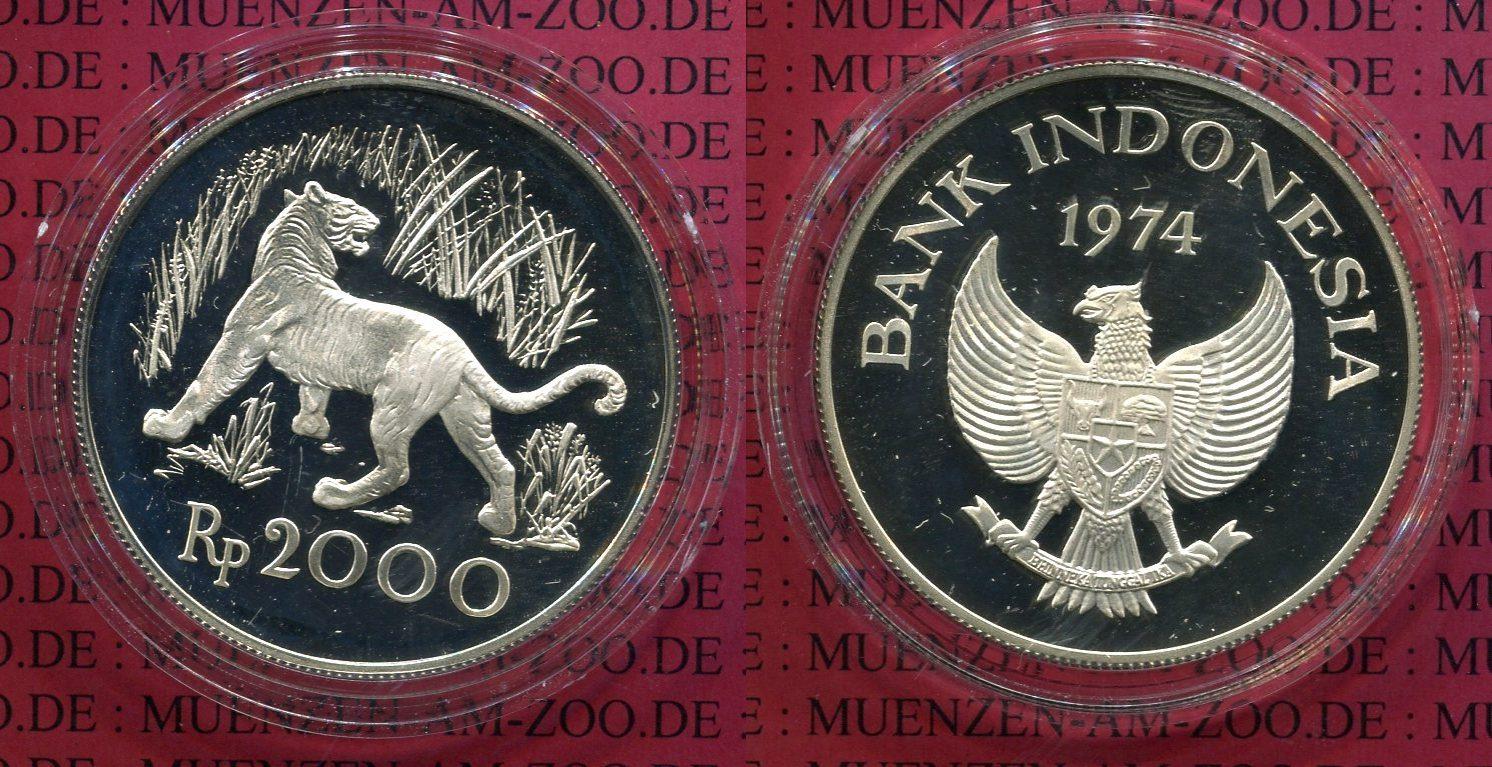 2000 Rupiah 1974 Indonesien Indonesia Indonesien Indonesia 2000 Rupiah 1974 Javan Tiger WWF , Silber PP PP Proof