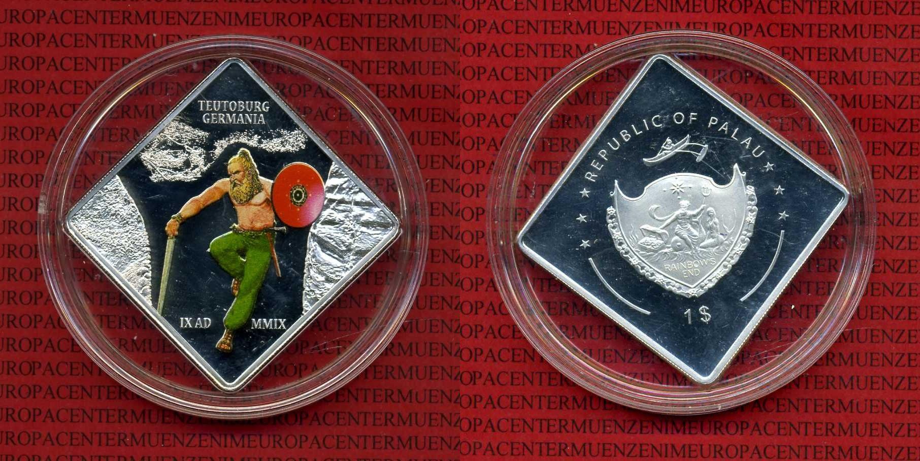 1 Dollar rechteckig Farbmünze 2009 Palau Palau 1 Dollar 2009 2000 Jahre Schlacht im Teutoburger Wald, Germane BU