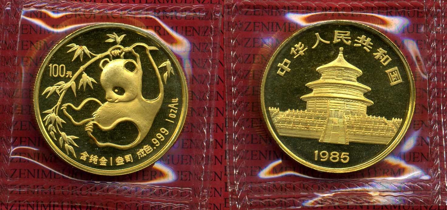 100 Yuan Panda, 1 Unze Gold 1985 China China 1 Ounce Gold Panda Uncirculated Coin, originally sealed unc. sealed,