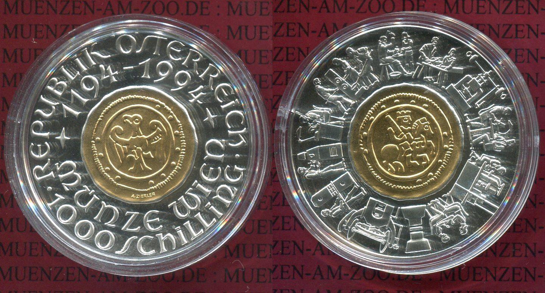 1000 Schilling Bimetall Gold Silber 1994 österreich Austria