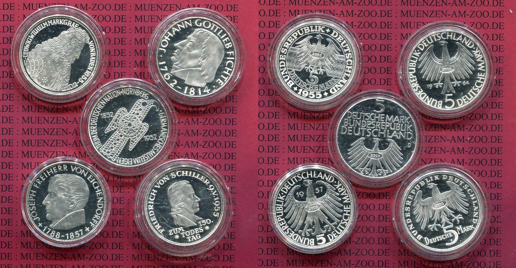 Replikensatz Die Ersten Fünf 5 Dm Münzen 2003 Bundesrepublik Deutschland Replikensatz Die Ersten Fünf 5 Dm Gedenkmünzen Polierte Platte Polierte