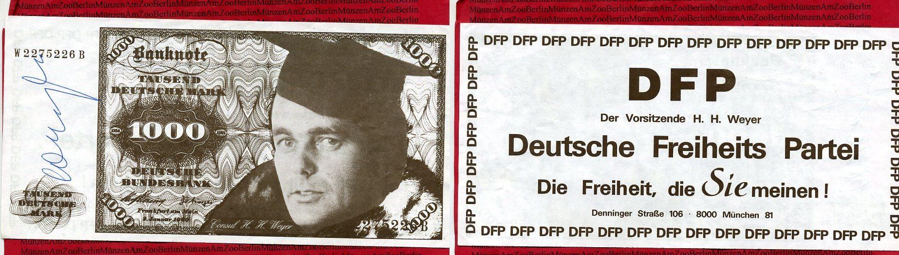 propagandabanknote parteiwerbung o j bundesrepublik deutschland propagandabanknote hnlich 1000. Black Bedroom Furniture Sets. Home Design Ideas