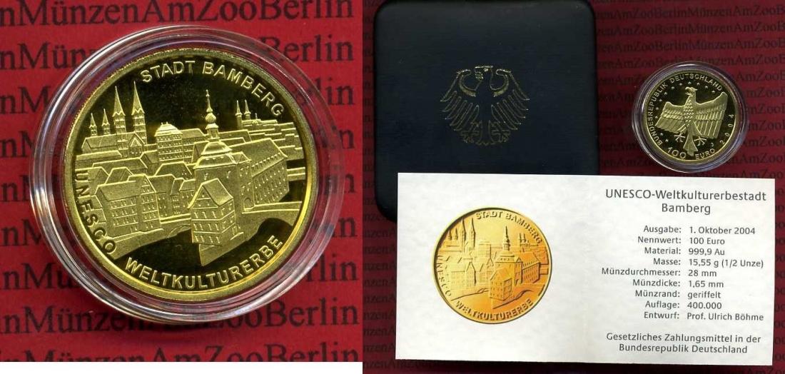 100 Euro Goldmünze 1/2 Unze 2004 J Deutschland BRD Germany FRG Deutschland BRD 100 Euro Gold 2004 J Weltkulturerbe Bamberg Stgl. OVP Stempelglanz OVP