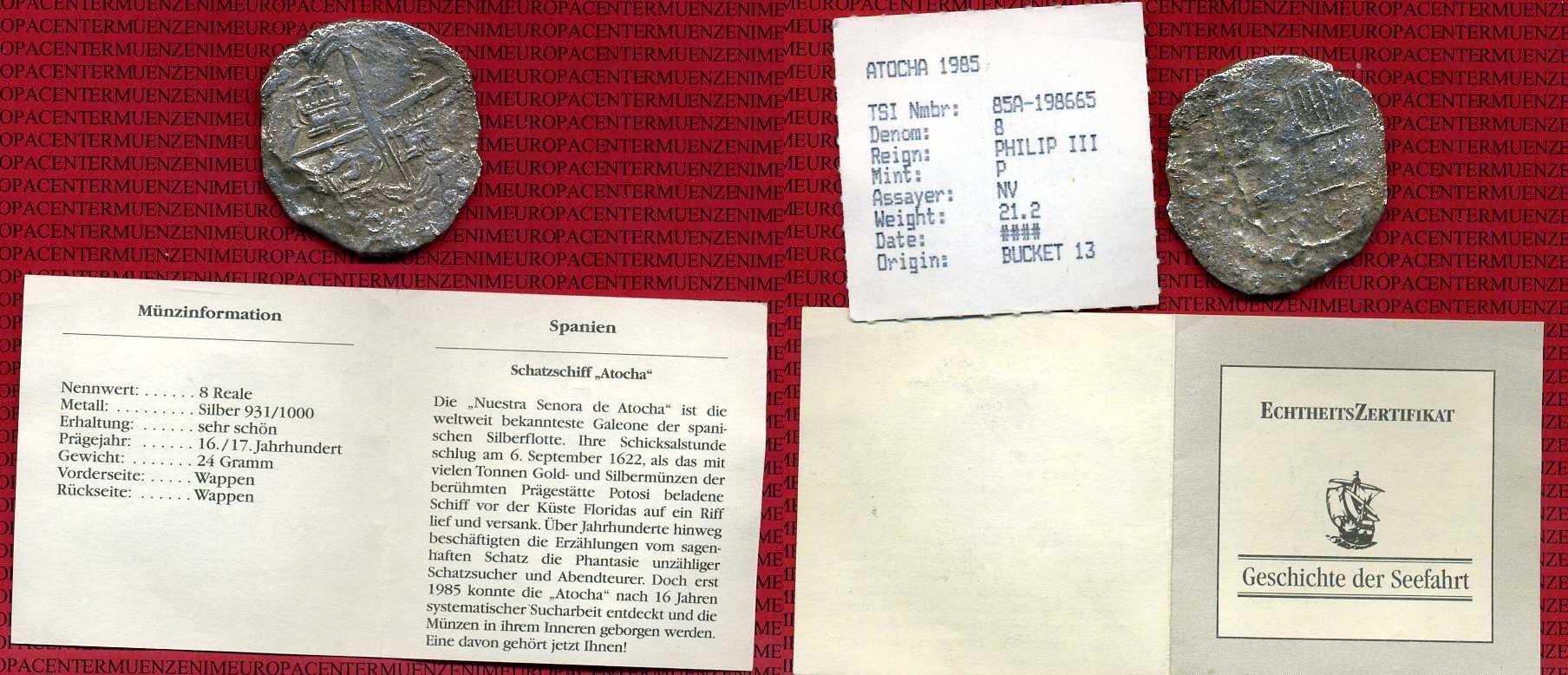 8 Reales Schiffsgeld Atocha Oj Ca 1622 Spanien Mexico Spanien