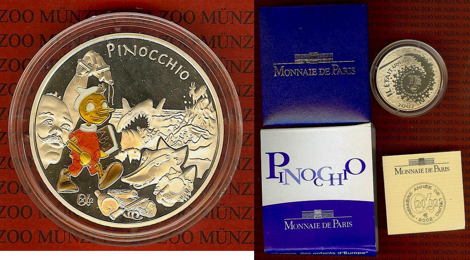 1 1/2 Euro Silbermünze, Farbmünze 2002 Frankreich Frankreich 1,5 Euro 2002, Pinocchio Farbmünze OVP Polierte Platte Box Zert Schuber OVP