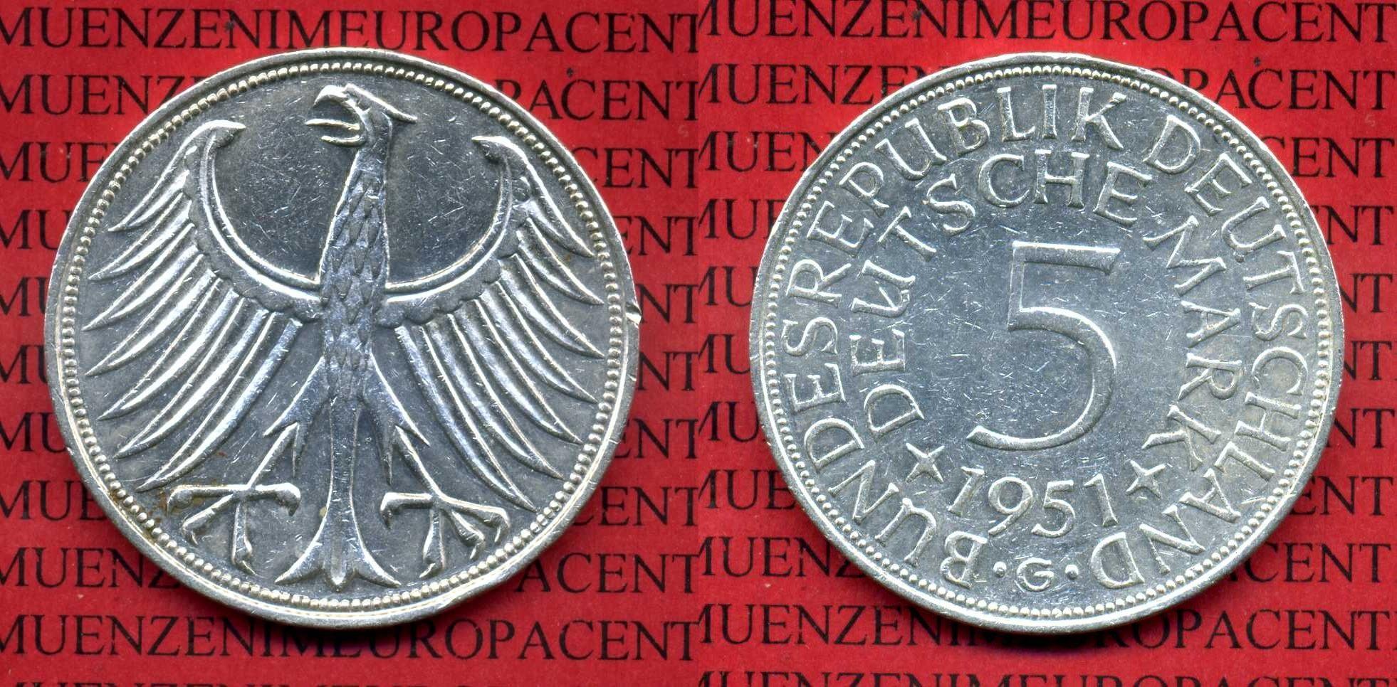 Satz 5 Dm Silberadler 1951 G Bundesrepublik Deutschland 5 Dm