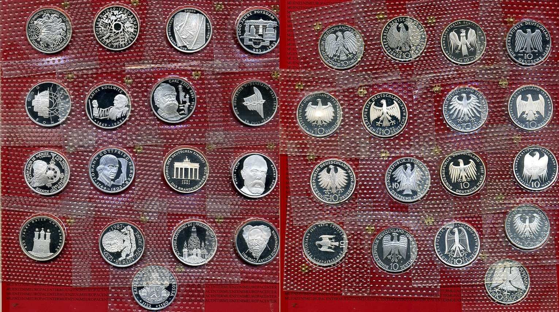 17 x 10 DM Silbermünzen 1987 ff Bundesrepublik Deutschland 17 x 10 DM Gedenkmünzen Spiegelglanz in Originalfolien ab 750 Jahre Berlin German prooflike sealed *