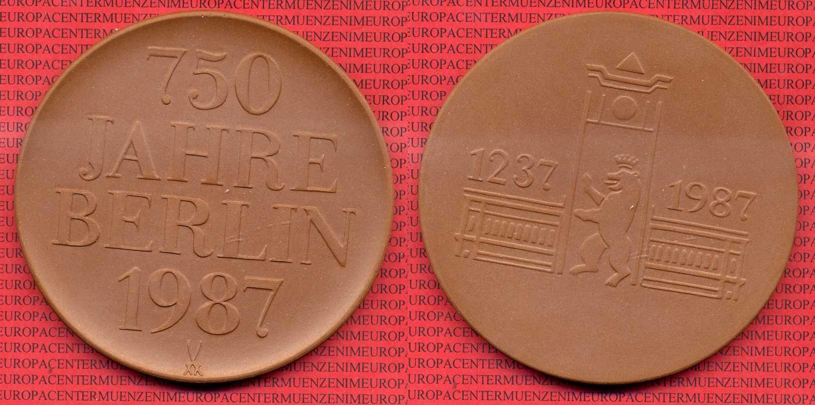 Porzellanmedaille Braun 1987 Ddr Ddr Porzellanmedaille 1987 750