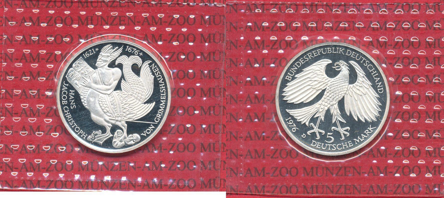 5 DM Gedenkmünze Silber 1976 Bundesrepublik Deutschland Bundesrepublik Deutschland 5 Mark 1976 , Hans Jacob Christoph von Grimmelshausen German prooflike