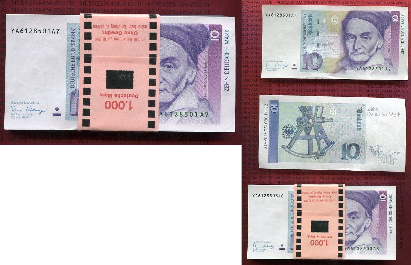 Originalbündel 100 X 10 Dm Deutsche Mark 1989 Brddeutsche