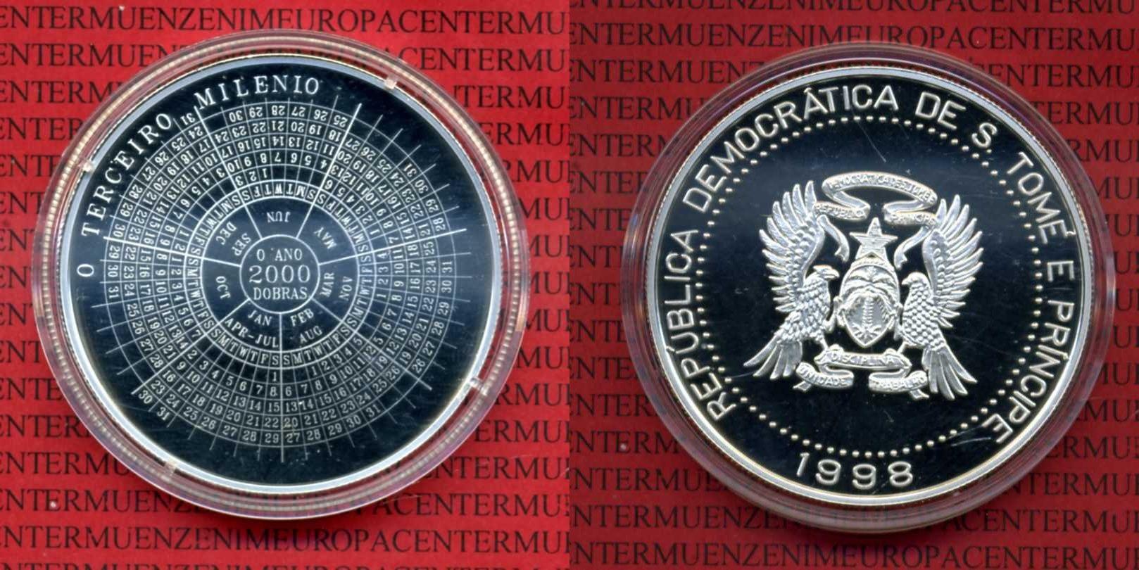 2000 Dobras Kalendermünze 1998 São Tomé Und Príncipe St Thomas 2000