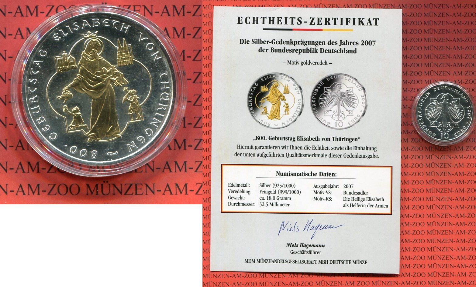 10 Euro Silbermünze Mit Goldapplikation 2007 Bundesrepublik
