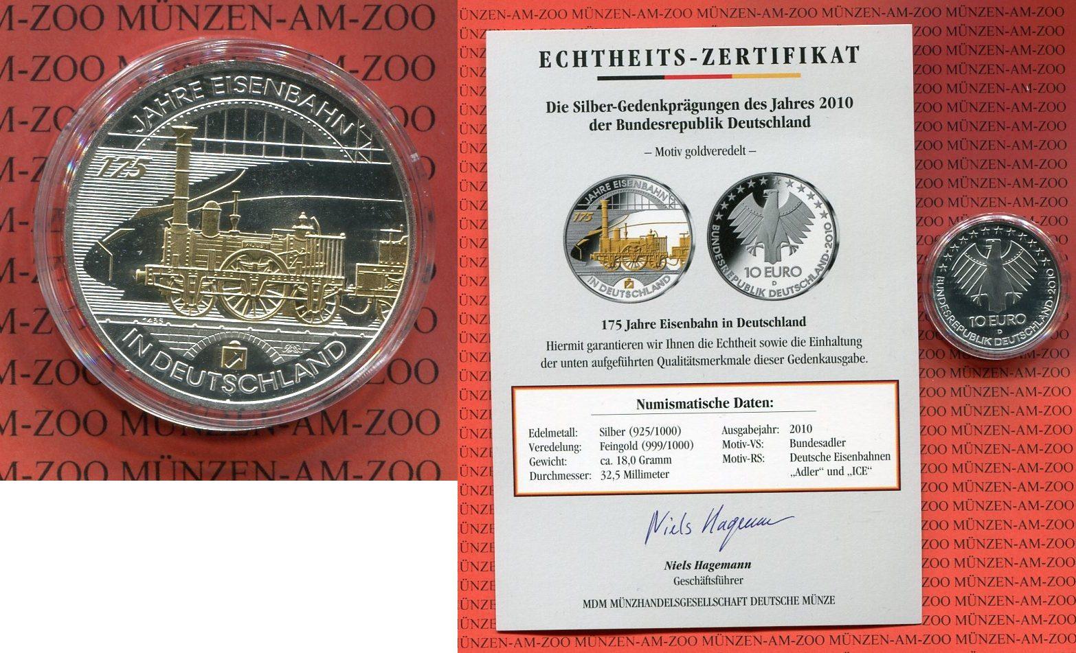 10 Euro Silber Mit Goldapplikation 2010 Bundesrepublik Deutschland