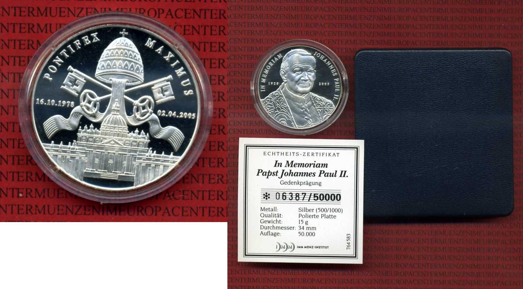 Silbermedaille 2005 Vatikan Medaille Imm Silbermedaille Imm Papst