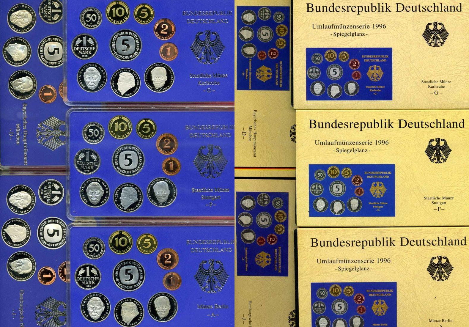 DM Kursmünzensatz komplett 5 Platten 1996 Bundesrepublik Deutschland Bundesrepublik Deutschland DM Kursmünzensatz KMS 1996 Komplett A D F G J Spiegelglanz / Proof OVP