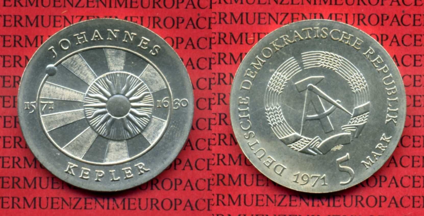 5 Mark Gedenkmünze Cu/Ni 1971 DDR DDR 5 Mark 1971 Cu/Ni 400. Geburtstag von Johannes Kepler prfr.* , nicht gereinigt Patina