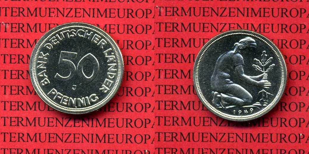 50 Pfennig 1949 J Bundesrepublik Deutschland Bank Deutscher Länder