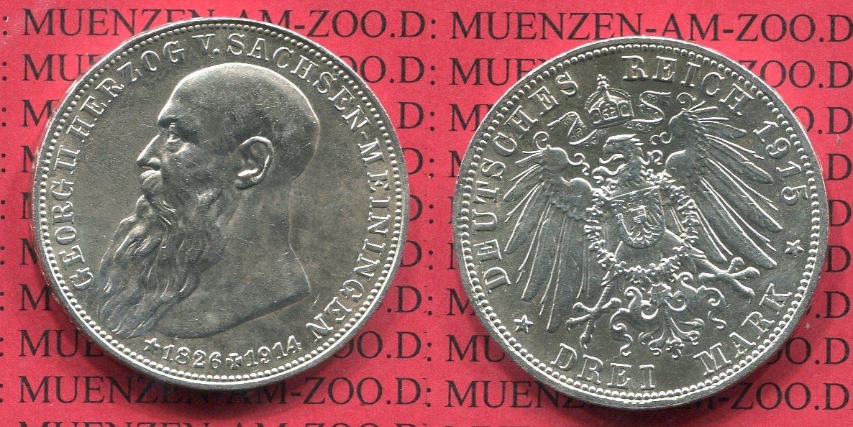 3 Mark Silbermünze 1915 Sachsen Meiningen Sachsen Meiningen 3 Mark 1915 Auf den Tod von Herzog Georg J. 155 vz