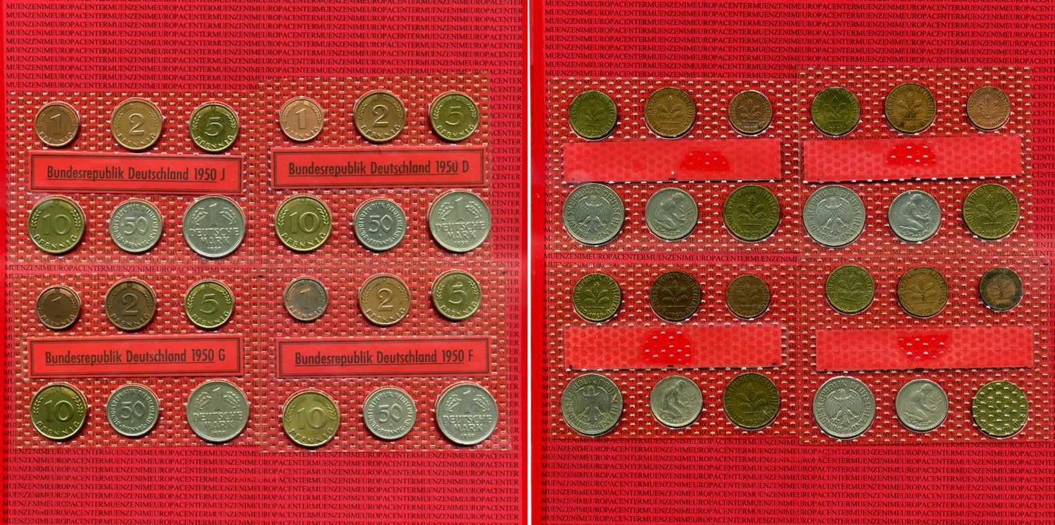 1 Pfennig-1 DM 1950 Bundesrepublik Deutschland Deutschland BRD 1 Pfennig bis 1 Mark D F G J Satz siehe Bild Zirkuliert im Blister