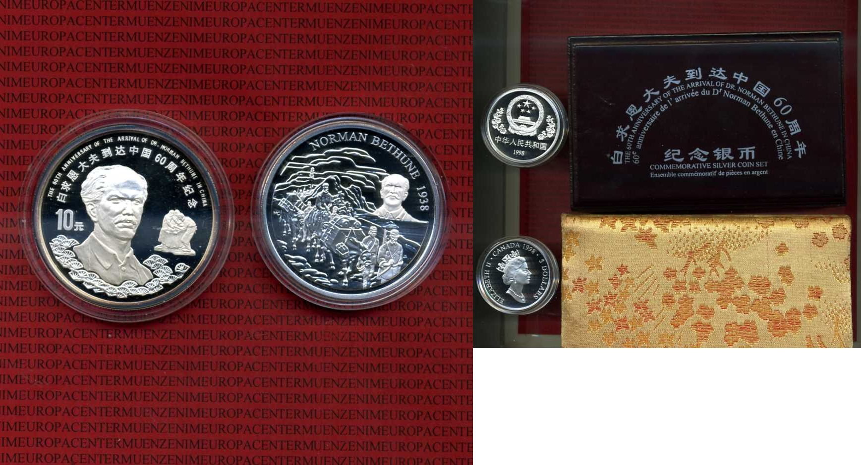 10 Yuan-5 Dollars 1998 China-Kanada China + Kanada 10 Yuan und 5 Dollars 1998 Box um Karton Kapsel Proof