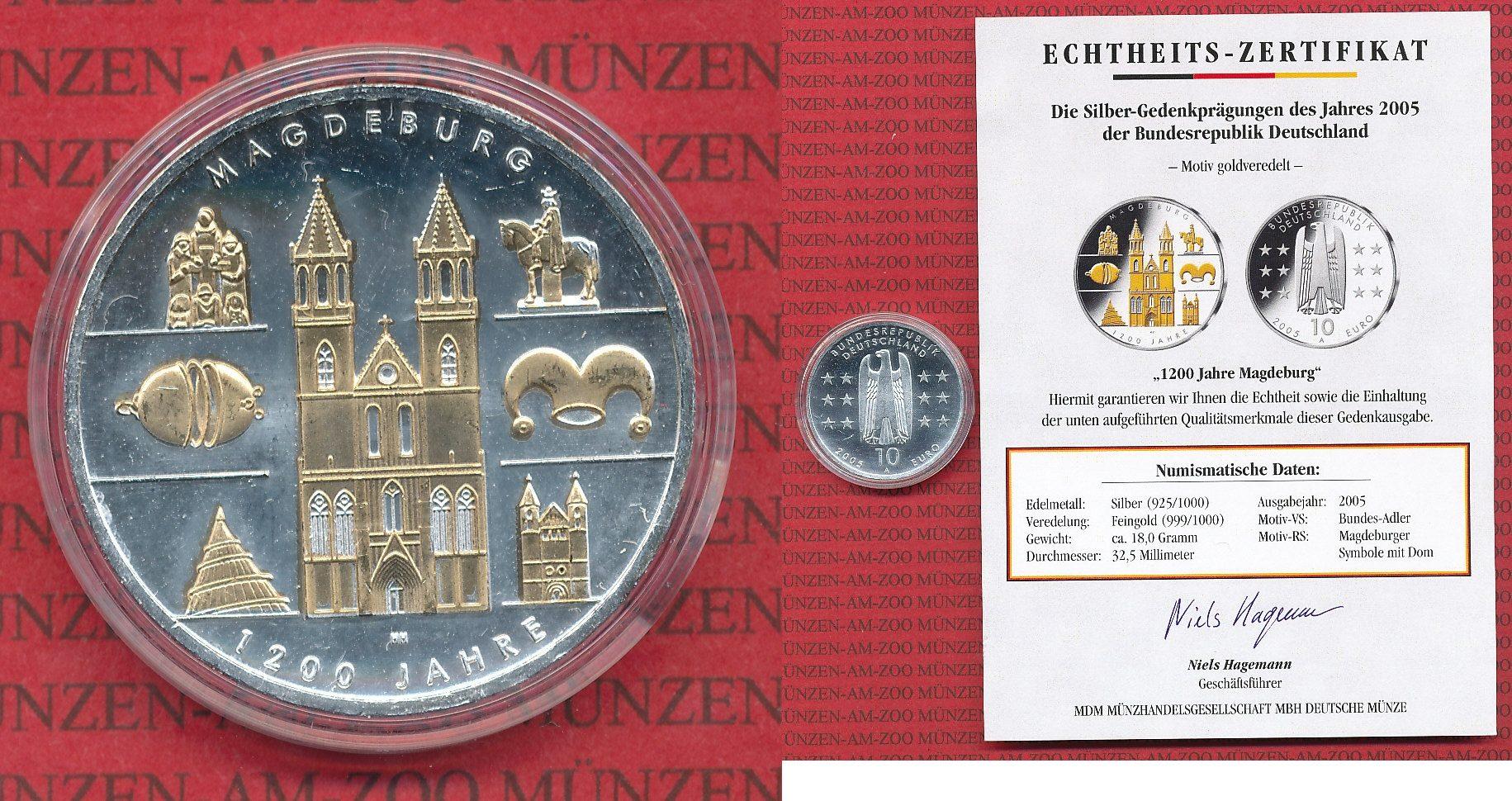 10 Euro Silbermünzemotiv Goldveredelt 2005 Bundesrepublik