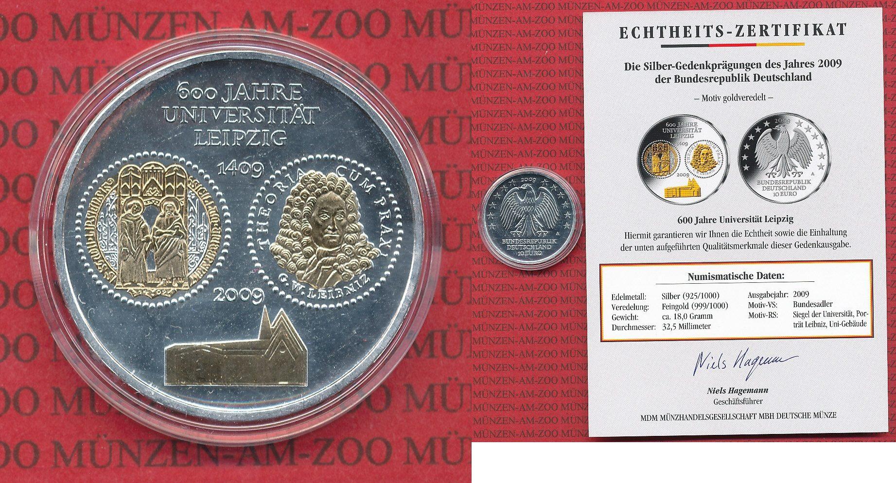 10 Euro Silbermünzemotiv Goldveredelt 2009 Bundesrepublik