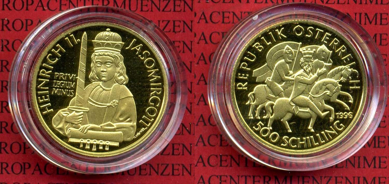500 Schilling Goldmünze 1996 österreich österreich 500 Schilling 1996 Gold Heinrich Ii Jasomirgott Polierte Platte Mit Kapsel Und Zert
