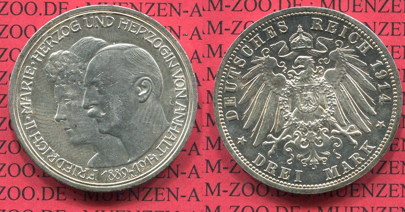 3 Mark Silber Kaiserreich 1914 Anhalt Anhalt 3 Mark 1914