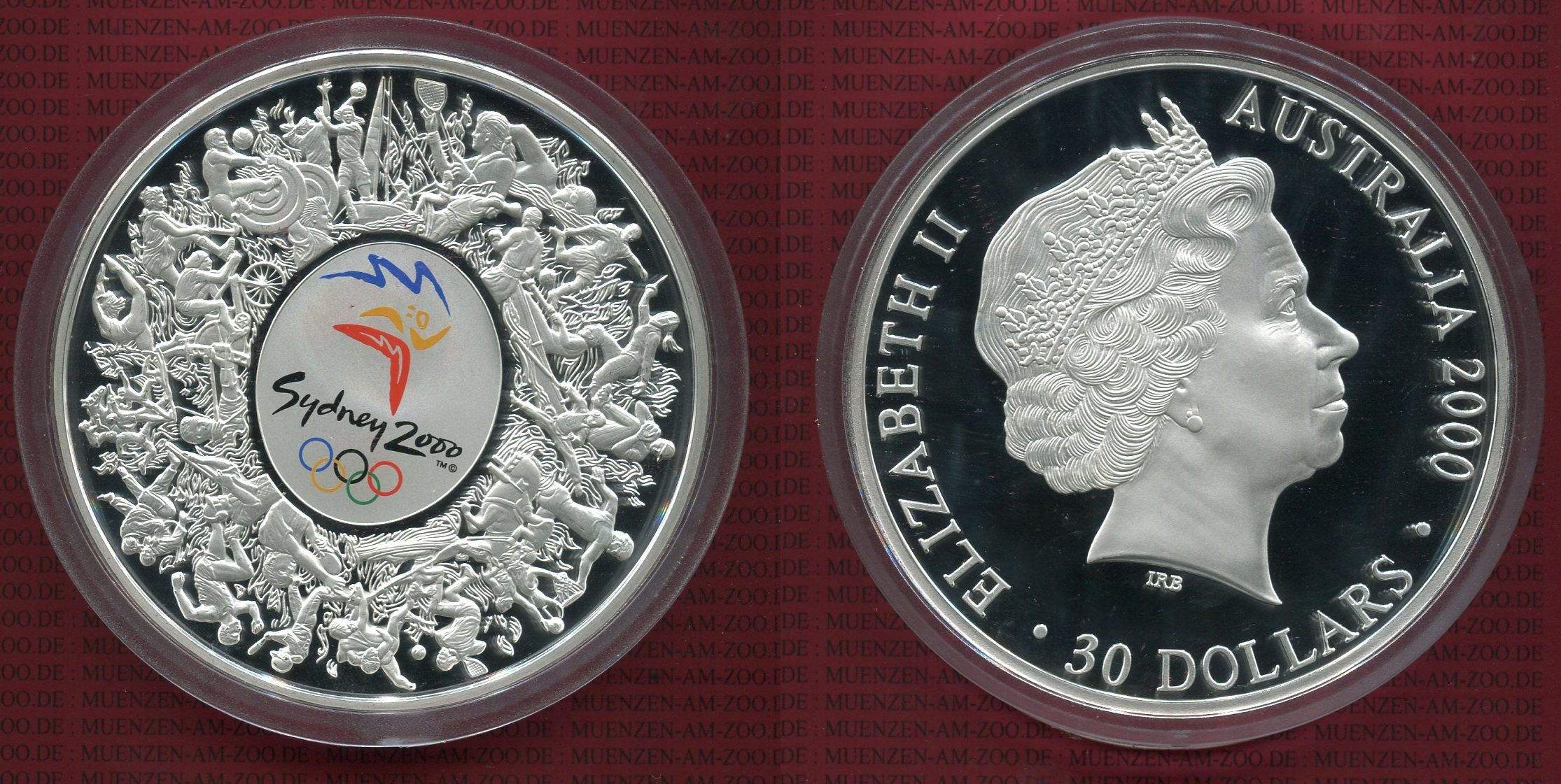 1 Kilo Silber 30 Dollars Farbmünze 2000 Australien Australia