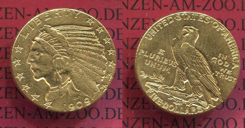 5 Dollars Goldmünze Indianerkopf 1909 Usa Usa 5 Dollars Indianerkopf