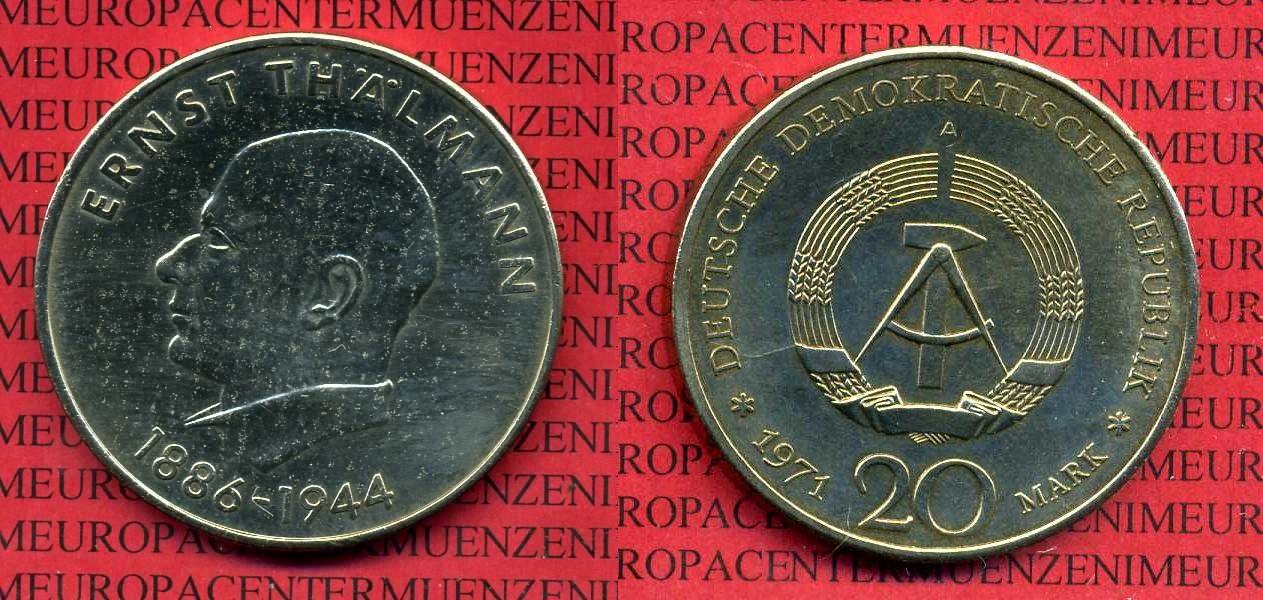 20 Mark Ddr Kursgedenkmünze 1971 Ddr Ddr 20 Mark 1971 Ernst Thälmann