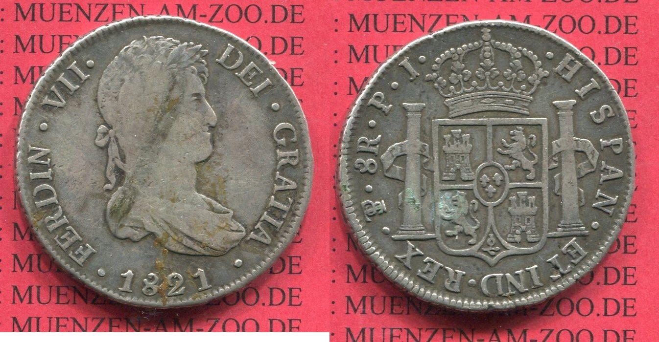 8 Reales Silbermünze Wappen M Säulen 1821 Mexico Mexiko Unter